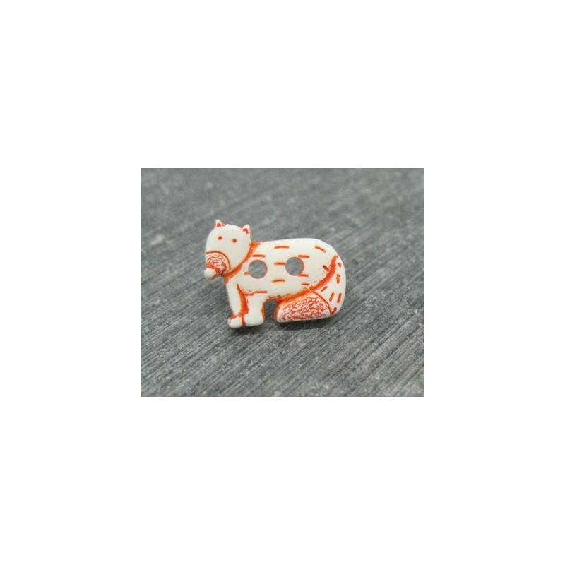 bouton chien du d sert blanc orange 18mm auchtibouton. Black Bedroom Furniture Sets. Home Design Ideas