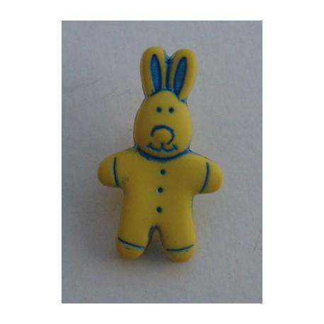 Bouton lapin jaune 18 mm b2