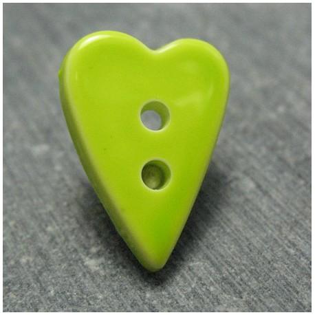 Bouton coeur vert anis 18 mm b66