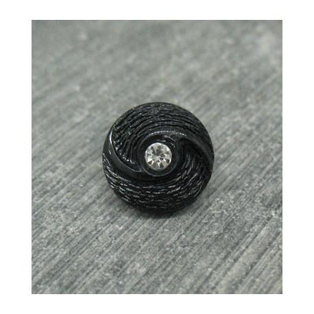 Bouton hélice strass noir 12mm