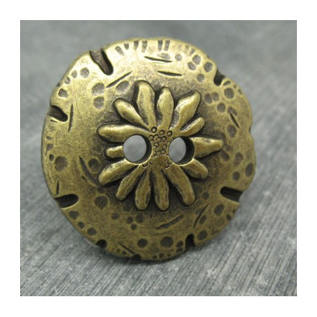 Bouton edelweiss vieil or 40mm
