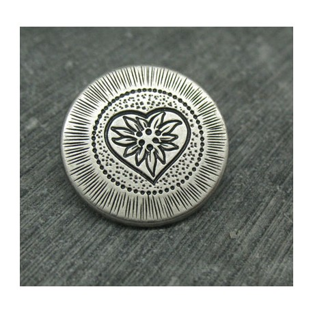 Bouton coeur edelweiss 23mm