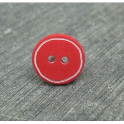 Bouton rouge cercle blanc 12mm
