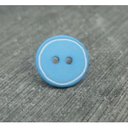 Bouton bleu turquoise cercle blanc 12mm