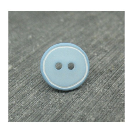 Bouton bleu ciel cercle blanc 12mm