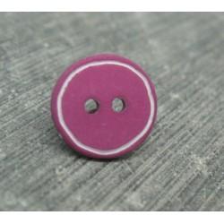 Bouton prune cercle blanc 12mm