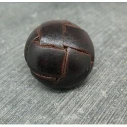 Bouton cuir marron foncé 25mm