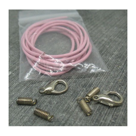 Lacet cuir rose 1m + 2 jeux d'attaches