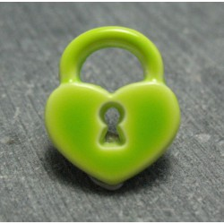Bouton cadenas coeur vert anis 15 mm b22