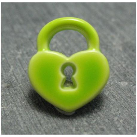 Bouton cadenas coeur vert anis 15mm