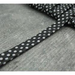 Passepoil noir pois gris 10mm