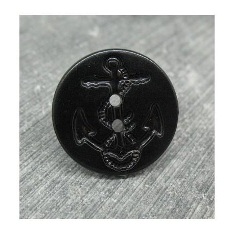 Bouton ancre noir 2 trous 20mm