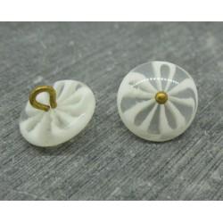 Bouton fleur 5 lobes translucides blanc 15mm