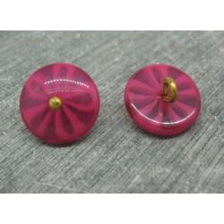 Bouton fleur 5 lobes translucides framboise 15mm