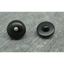 Bouton demi boule noir strass métal argent 13mm