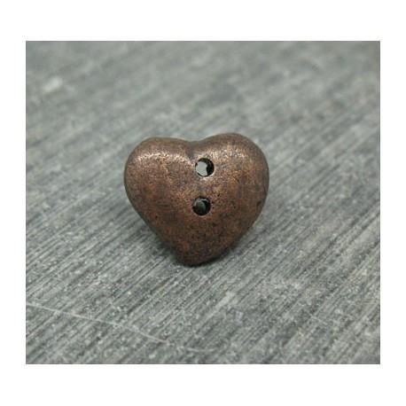 Bouton coeur cuivré 12mm