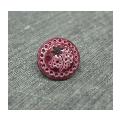 Bouton fleur emaillé verni prune 12mm