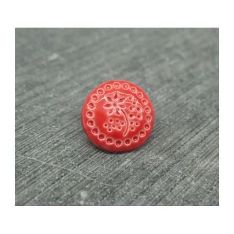 Bouton fleur emaillé verni rouge 12mm