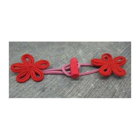 Brandebourg fleur rouge 80mm buchette15mm