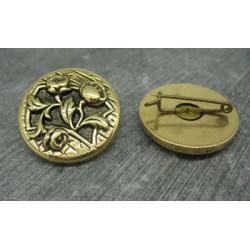 Broche métal dorée 29mm