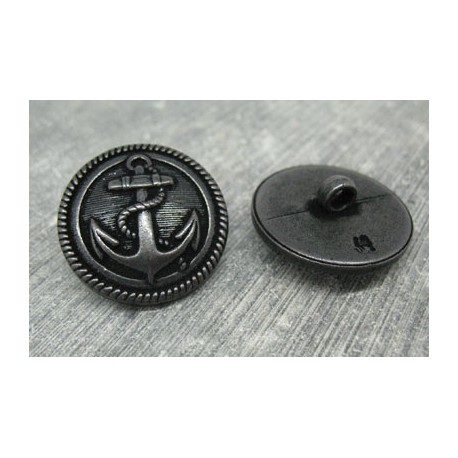 Bouton ancre métallisé noir 26mm