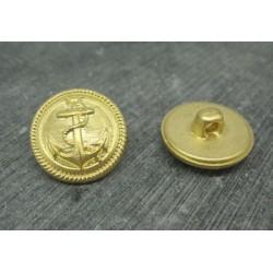 Bouton ancre métallisé or satiné 22mm