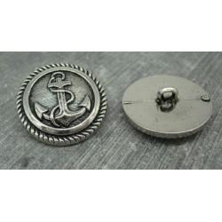 Bouton ancre métallisé vieil argent 27mm