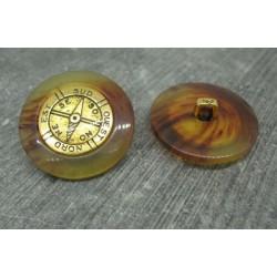 Bouton peigne boussole métallisé effet loupe 28mm