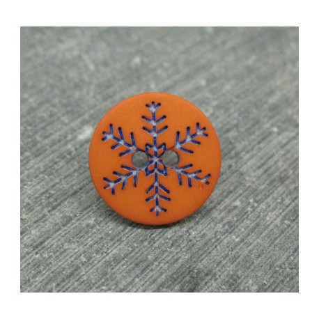 Bouton flocon de neige orange 12mm