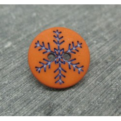 Bouton flocon de neige orange 15mm