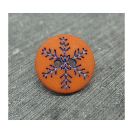 Bouton flocon de neige orange 15mm