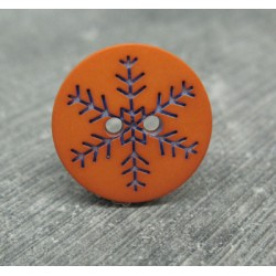 Bouton flocon de neige orange 18mm