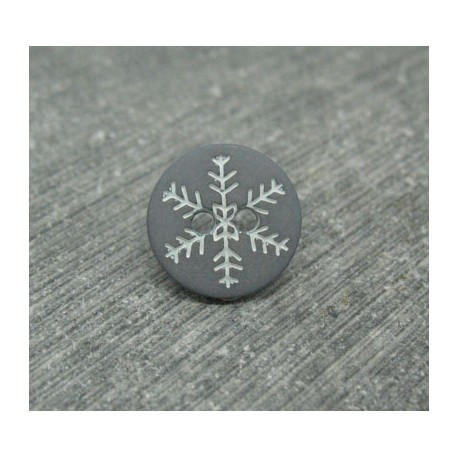 Bouton flocon de neige gris blanc 12mm