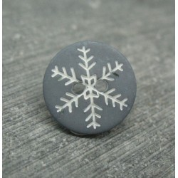 Bouton flocon de neige gris blanc 15mm