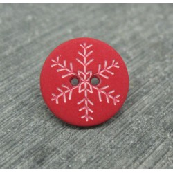 Bouton flocon de neige rouge 15mm
