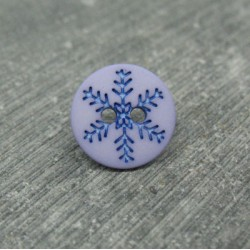 Bouton flocon de neige violine 12mm