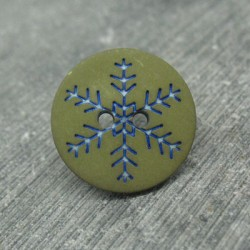 Bouton flocon de neige kaki 18mm