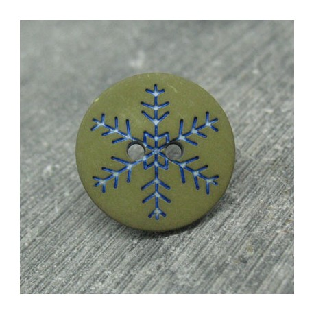 Bouton flocon de neige kaki 18mm