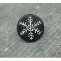 Bouton flocon de neige noir 12mm