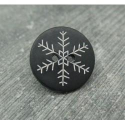 Bouton flocon de neige noir 18mm