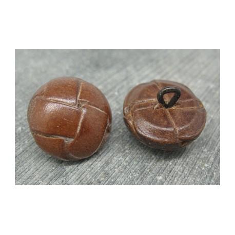 Bouton cuir marron moyen 23mm