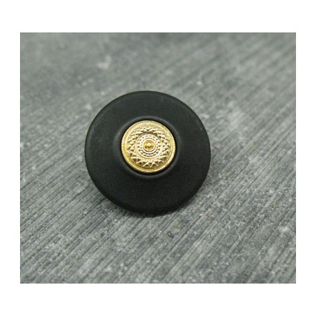 Bouton résine noir mat metallisé or 18mm