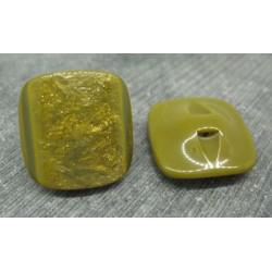 Bouton carré doré jaune olive 24mm