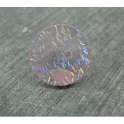 Bouton paillette translucide rose 18mm