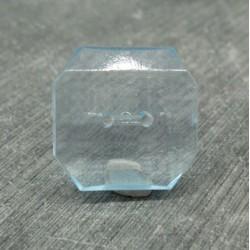 Bouton résine translucide imitation cristal  carré ciel 24mm