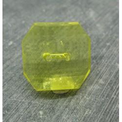 Bouton résine translucide imitation cristal  carré jaune 24mm