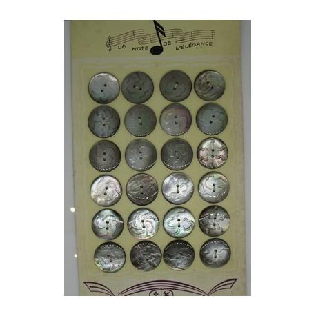 Plaque N°38 24 boutons tahiti gravé 22mm