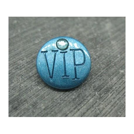 Bouton VIP bleu pétrole 15mm