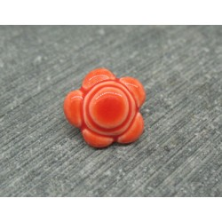 Bouton fleur 5 pétales orange émaillé verni 12mm
