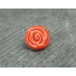 Bouton rose orange émaillé verni 13mm